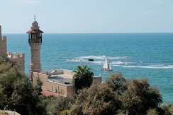 The ancient port of Jaffa (now part of Tel Aviv-Yafo) in Israel: according to the Bible, where Jonah set sail before being swallowed by a whale[37]