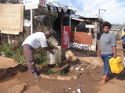 Communal tap (standpost) for drinking water in Soweto, Johannesburg, South Africa