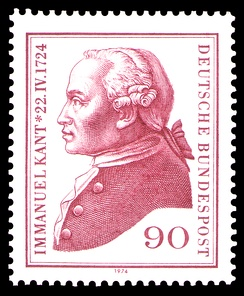 West German postage stamp, 1974, commemorating the 250th anniversary of Kant's birth
