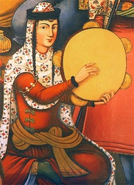 An Iranian woman playing a frame drum, from a painting on the walls of Chehel Sotoun palace, Isfahan, 17th century, Iran.