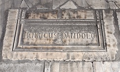 A 19th century tomb marker of the probable location of the tomb of Enrico Dandolo, the leader of the Fourth Crusade and Doge of Venice, inside the Hagia Sophia