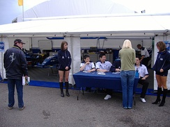 The Scorpio Motorsport team at Donington Park in 2008.