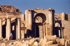 Flourished in the 2nd century, the strongly fortified Parthian city of Hatra shows a unique blend of both Classical and Persian architecture and art.[33][34]