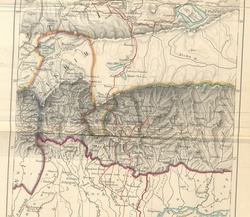 Historical map of Sikkim in northeastern India