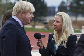 A reporter interviewing Boris Johnson when he was Mayor of London, 2014