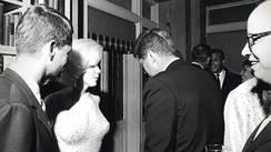Attorney General Robert F. Kennedy, Marilyn Monroe, President Kennedy (back to camera) in 1962