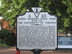 Monroe once owned a farm at the location of the University of Virginia in Charlottesville
