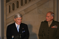 Kelly and U.S. Senator John Warner hold a briefing regarding the status of investigations into the Haditha incident on May 25, 2006