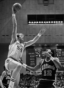 Kent Benson of the 1976 NCAA Championship team scoring in a Big Ten game against Illinois in 1977