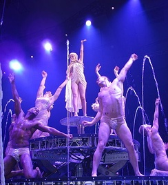 "Minogue and her dancers during the performance of ""All the Lovers"" during 2011's Aphrodite: Les Folies Tour. It was the final performance of the concerts."