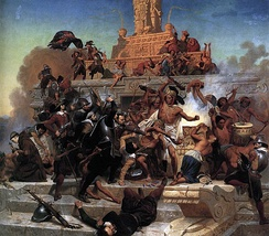 Storming of the Teocalli by Cortez and his troops. Emanuel Leutze. Painting, 1848