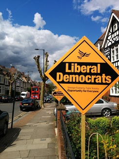 Liberal Democrats campaigning stakeboards in Hornsey and Wood Green in 2015
