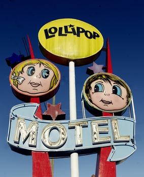 Neon sign of the Lollipop Motel in North Wildwood, New Jersey