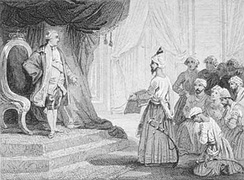 Louis XVI receiving the ambassadors of Tippu Sultan in 1788, Voyer after Emile Wattier, 19th century