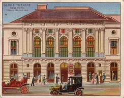 Cigarette trading card showing the Globe Theatre, c. 1910s