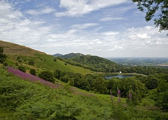Malvern Hills with the British Camp on the left