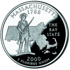 The Concord Minute Man of 1775 statue depicted on the Massachusetts state quarter