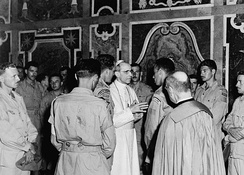 Members of the Canadian Royal 22e Regiment in audience with Pope Pius XII, following the Liberation of Rome in 1944 during World War II