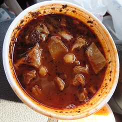 Traditional beef tripe stew called menudo