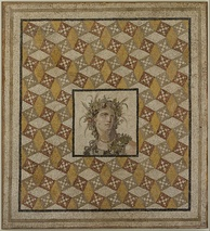 Roman mosaic floor panel of stone, tile and glass, from a villa near Antioch in Roman Syria. 2nd century AD