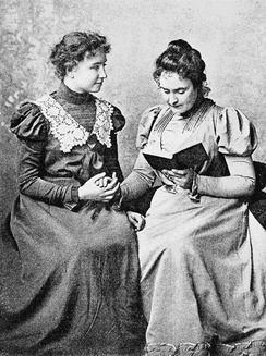 Helen Keller in 1899 with lifelong companion and teacher Anne Sullivan.  Photo taken by Alexander Graham Bell at his School of Vocal Physiology and Mechanics of Speech.