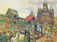 "A ""veche"" or popular assembly of the Pskov Republic, which officially became independent by the Treaty of Bolotovo in 1348"
