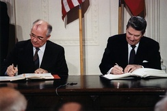 Gorbachev and Reagan sign the INF Treaty at the White House, 1987
