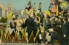 Rex, presented with freedom of the city; early 20th century postcard