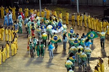Athletes gather in the stadium during the closing ceremony of the 2007 Pan American Games.