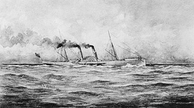 The Confederate blockade runnerSS Banshee in 1863