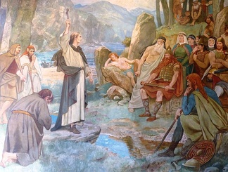 19th-century illustration of Saint Columba's conversion of King Bridei, by William Hole.
