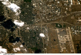 Astronaut photography of Salt Lake City west of downtown, taken from the International Space Station (ISS). North is at bottom.