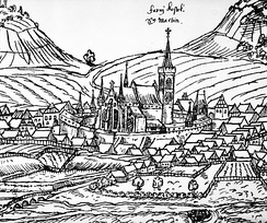 Sedlčany with St Martin Church, 1602 woodcut