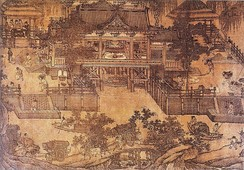 A Song dynasty watercolor painting of a mill in an oblique projection, 12th century