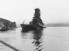 The rebuilt battlecruiser Haruna sank at her moorings in the naval base of Kure on July 24 during a series of bombings.