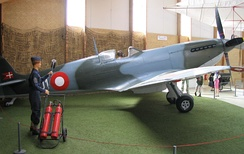 An RDAF Supermarine Spitfire on display at the Stauning Aircraft Museum