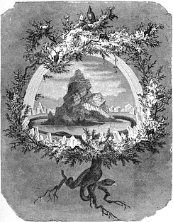 The cosmological, central tree Yggdrasil is depicted in The Ash Yggdrasil by Friedrich Wilhelm Heine (1886)