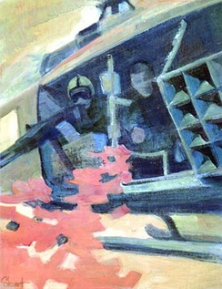 Chieu Hoi Mission by Craig L. Stewart,  U. S. Army Vietnam Combat Artists Team IX (CAT IX 1969-70). Painting shows army soldiers airdropping Psy Op leaflets during the Vietnam War.
