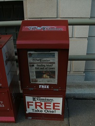 A Washington Examiner dispenser, from the time when the newspaper was a free daily tabloid