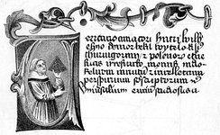 Page from a manuscript of De perspectiva, with miniature of its author Witelo