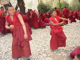 Tibetan monks engaging in a traditional monastic debate.