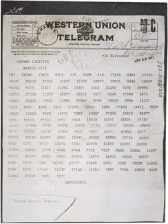 The Zimmermann Telegram as it was sent from Washington to Ambassador Heinrich von Eckardt (German ambassador to Mexico)