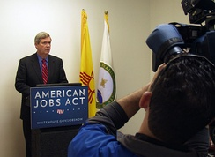 Agriculture Secretary Tom Vilsack speaking on behalf of the American Jobs Act in Albuquerque, New Mexico, December 8, 2011