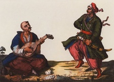 Cossack with a kobza, watercolor drawing, published in 1847