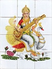 Left: Ganesha deity of Hinduism, Right: Saraswati, Hindu goddess of knowledge and music.