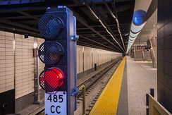 Example of a wayside block signal at the 34th Street–Hudson Yards station