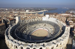 Arles Amphitheatre, France: a Roman arena still used[7] for bullfighting, plays and summer concerts.