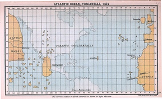 Toscanelli's notions of the geography of the Atlantic Ocean (shown superimposed on a modern map), which directly influenced Columbus's plans.