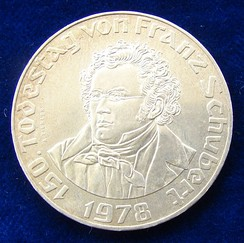 Austrian 50 Schilling silver coin, 1978: 150th anniversary of his death