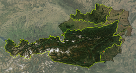 Satellite image of the Geographical regions of Austria.